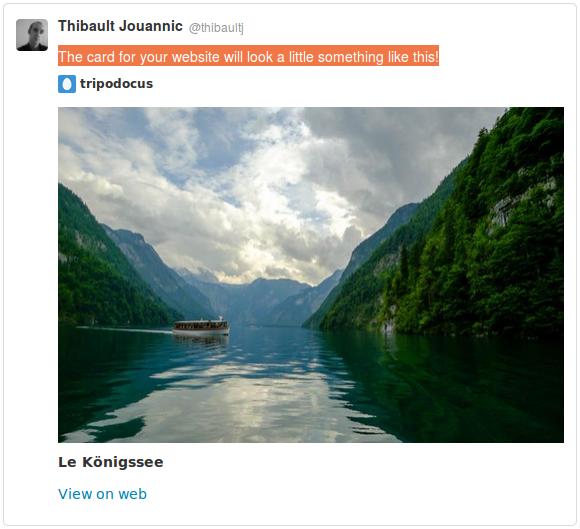 Capture d'écran d'une twitter card