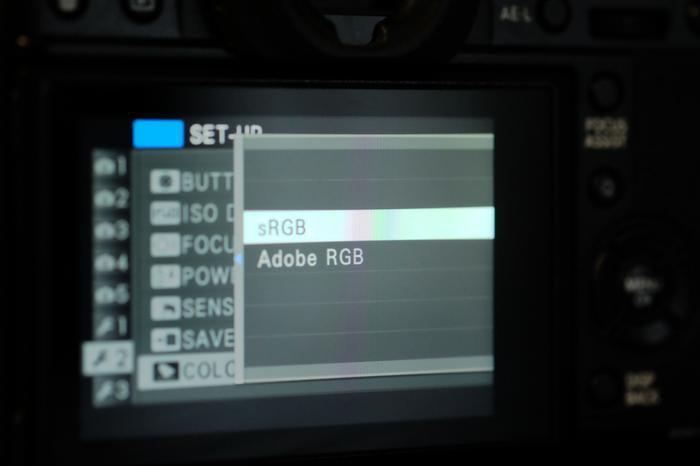Capture d'écran du menu «colorspace» du Fujifilm X-t1