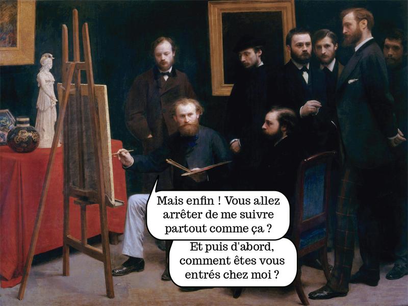 Tableau. Un peintre, observé par plusieurs hommes. — Mais enfin, vous allez arrêter de me suivre partout?