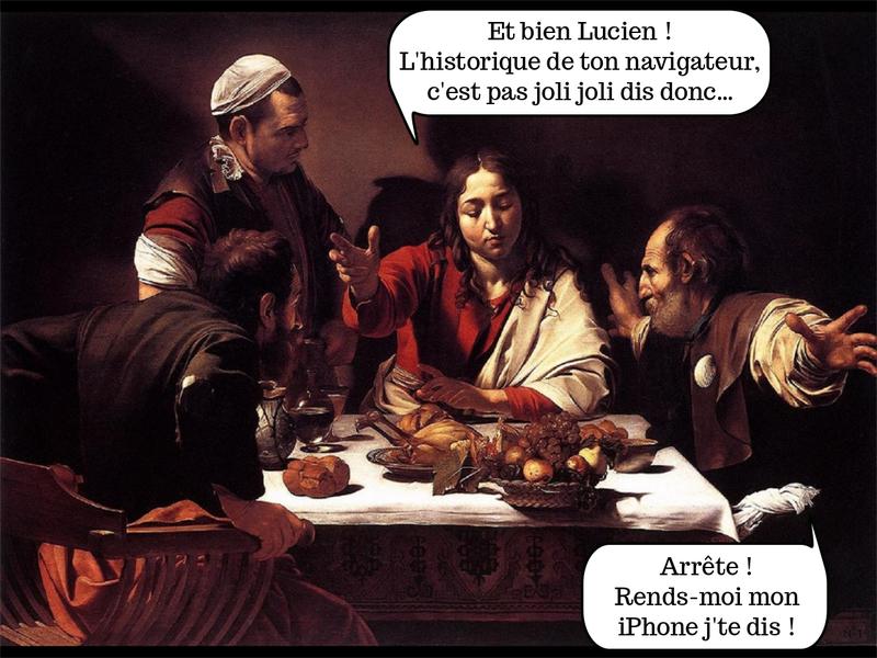 Tableau. 4 hommes autour d'une table. – Et bien Lucien, l'historique de ton navigateur, c'est pas joli joli. — Arrête, rends moi mon iPhone