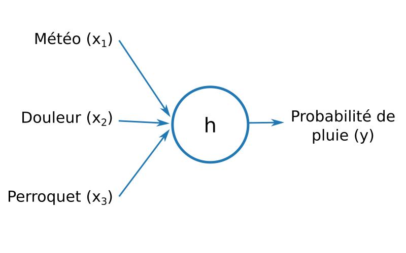 Représentation d'une fonction à trois paramètres x1, x2, x3, en sortie la probabilité de pluie y