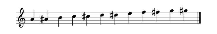 Portée musicale contenant les 12 notes.