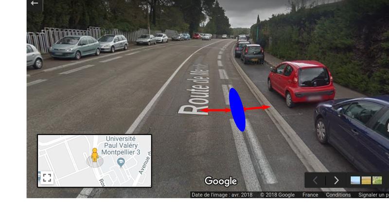 Bande cyclable route de Mende, illustrée des distances de sécurité requises.