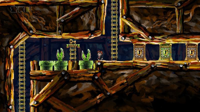 Capture d'écran du jeu Braid, des plantes carnivores jaillissent de tubes verts